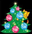Cat climbed the christmas tree vector