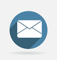 Postal envelope circle blue icon with shadow vector