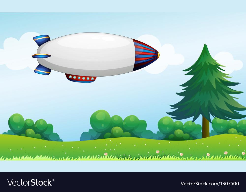 An airship above the hills vector | Price: 1 Credit (USD $1)