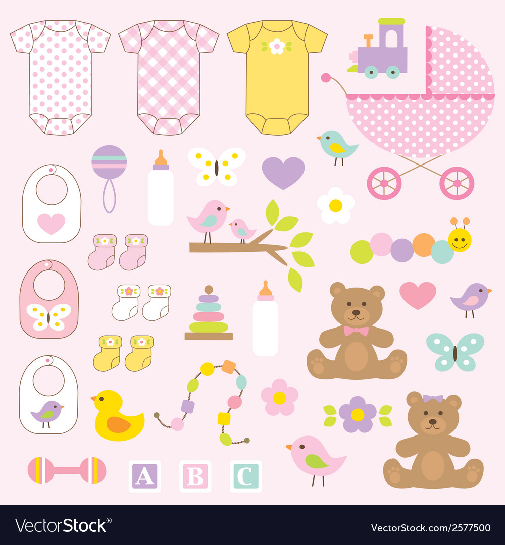 Baby girl clipart vector | Price: 1 Credit (USD $1)