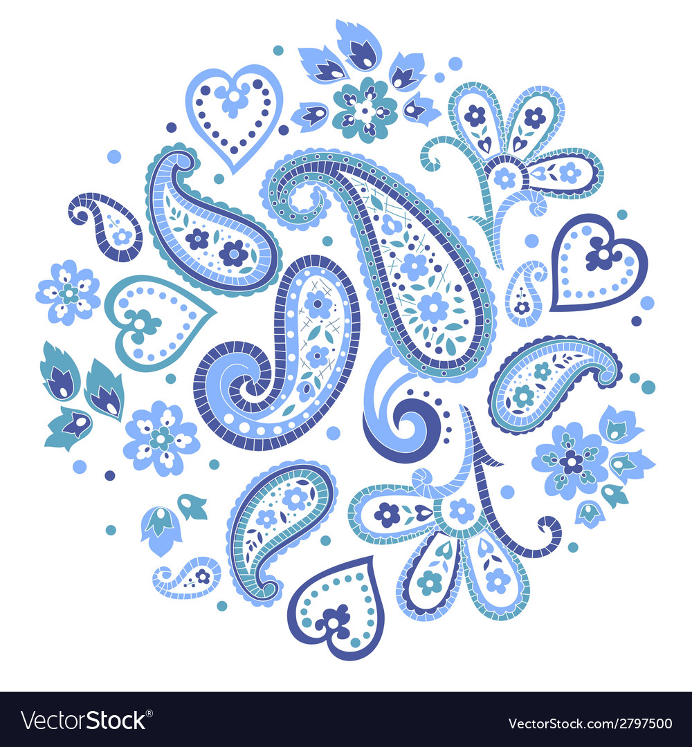 Beautiful indian paisley circle ornament decorativ vector | Price: 1 Credit (USD $1)
