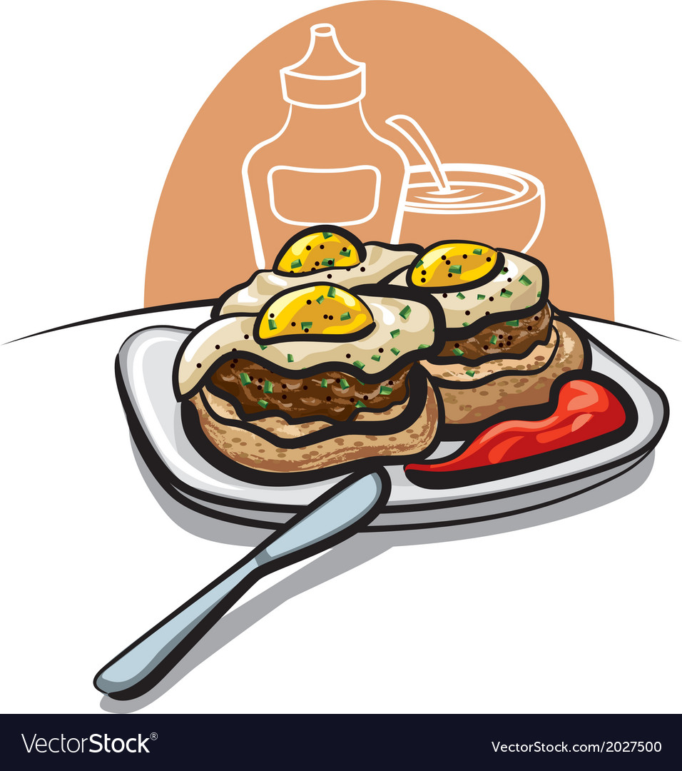 Burgers with eggs vector | Price: 1 Credit (USD $1)