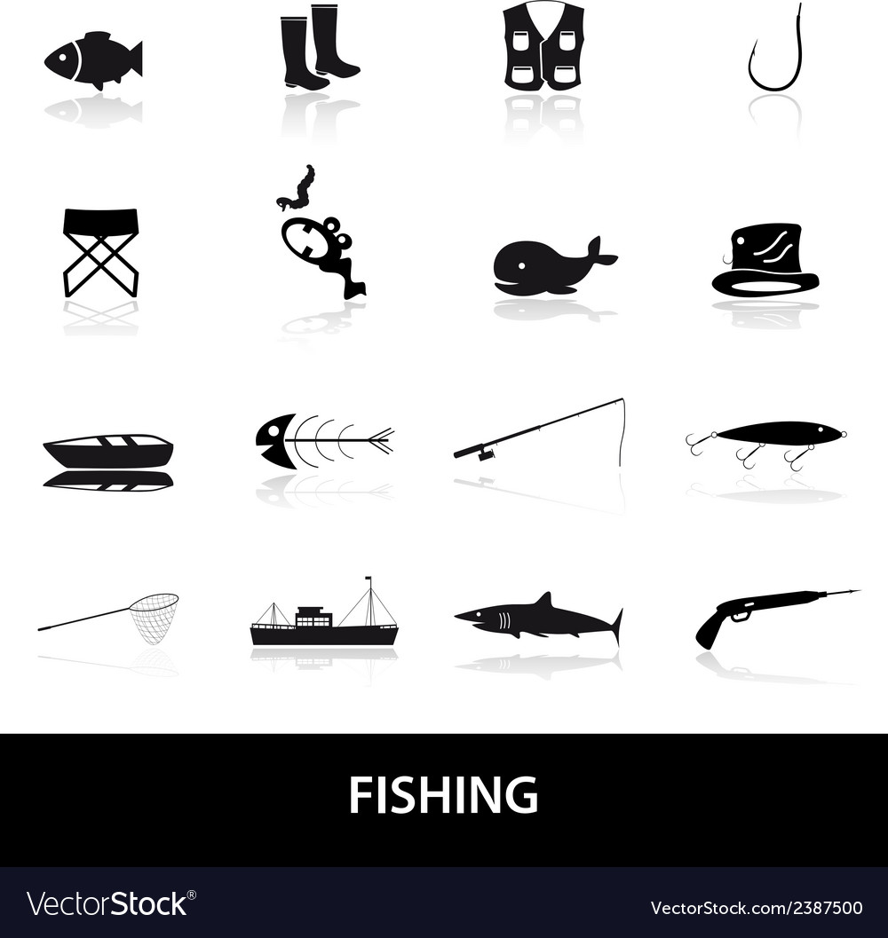 Fishing icons set eps10 vector | Price: 1 Credit (USD $1)