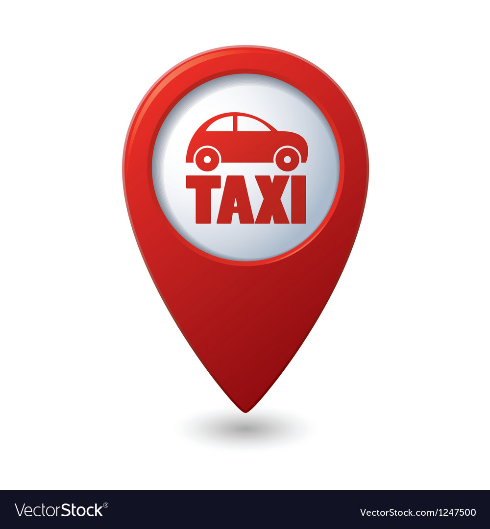 Map pointer with taxi icon vector | Price: 1 Credit (USD $1)