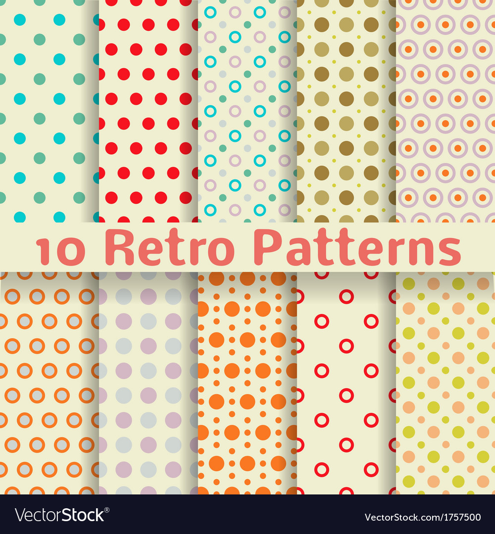 Retro dot seamless patterns tiling vector | Price: 1 Credit (USD $1)