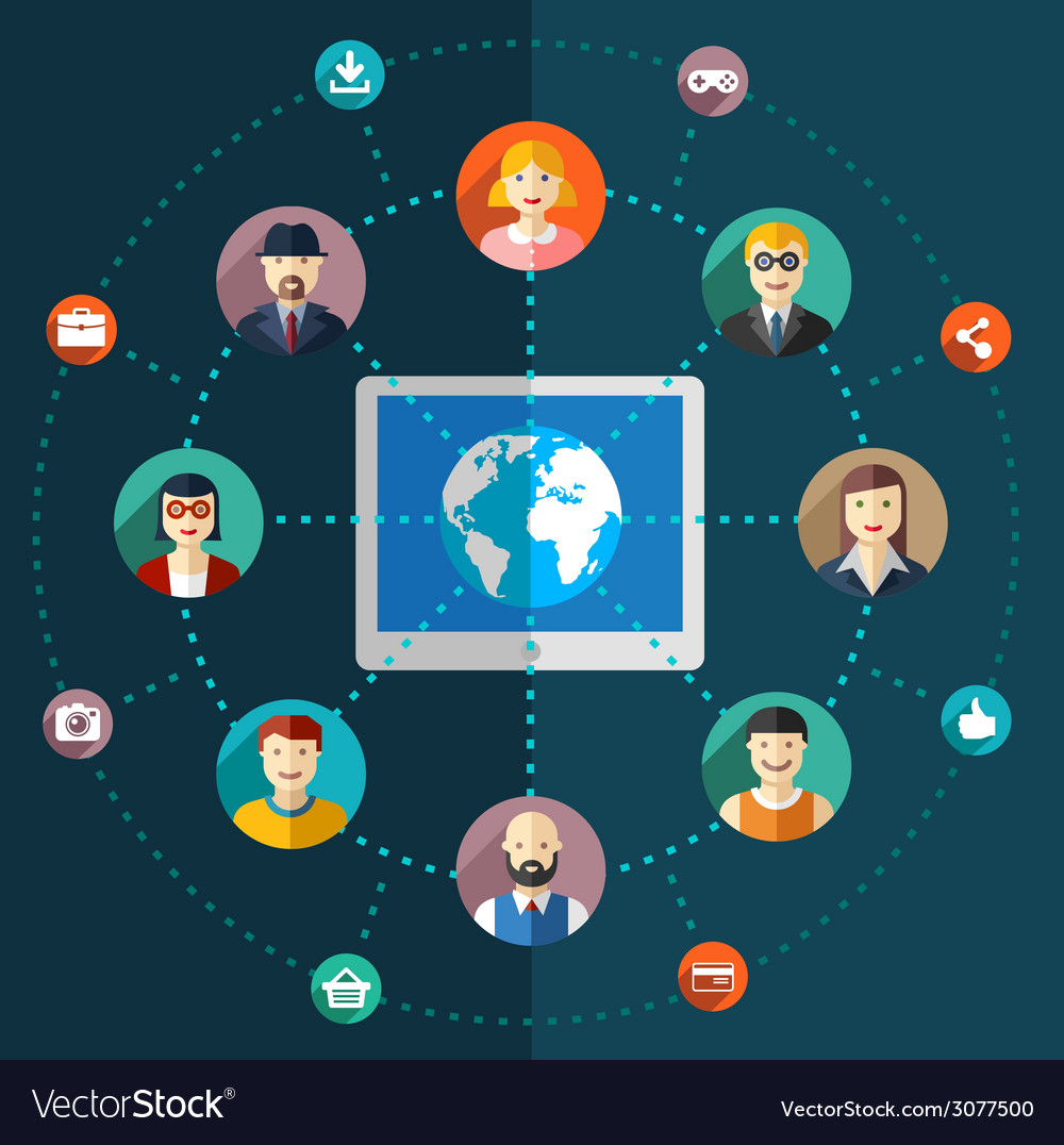 Social network flat with avatars earth vector | Price: 1 Credit (USD $1)
