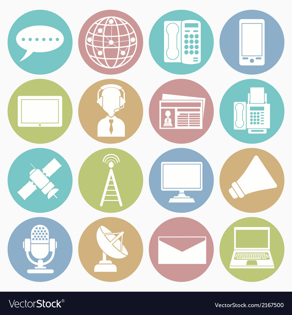 White icons communication vector | Price: 1 Credit (USD $1)
