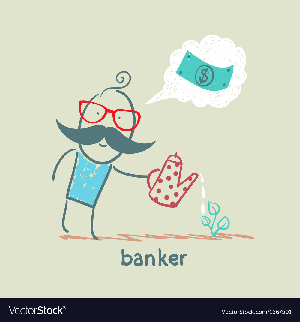 Banker plant watering and thinks about the dollar vector | Price: 1 Credit (USD $1)
