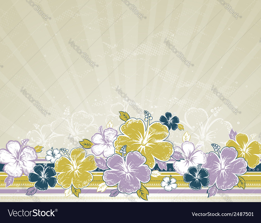 Bouquet of hibiscus on beige background vector | Price: 1 Credit (USD $1)