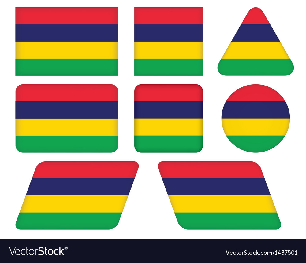 Buttons with flag of mauritius vector | Price: 1 Credit (USD $1)