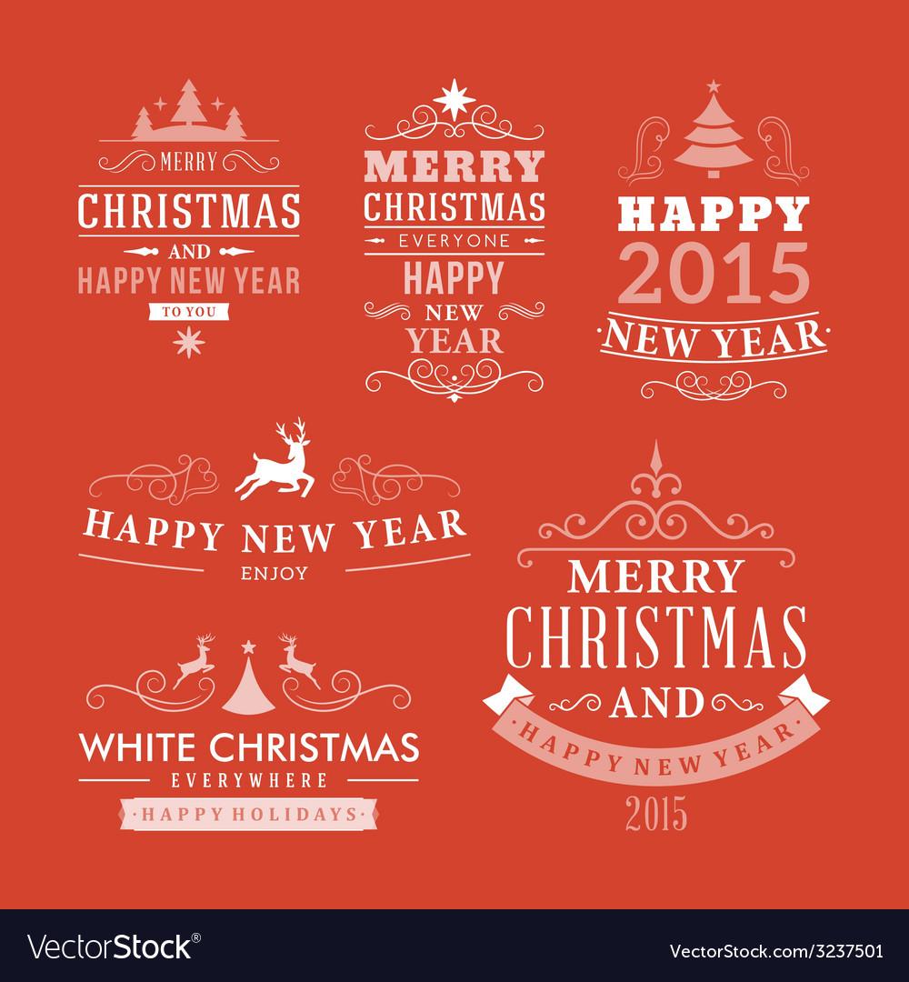 Christmas decoration set of design elements labels vector | Price: 1 Credit (USD $1)