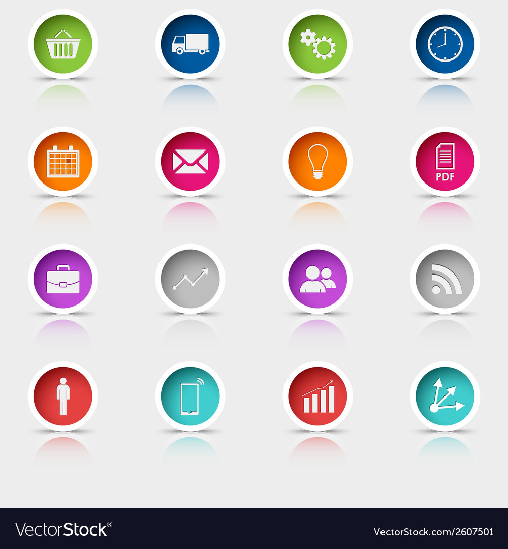 Colored set round web buttons template vector   Price: 1 Credit (USD $1)