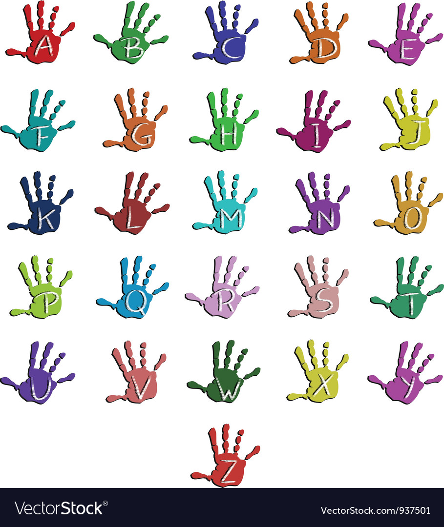 Colorful hand alphabet vector | Price: 1 Credit (USD $1)