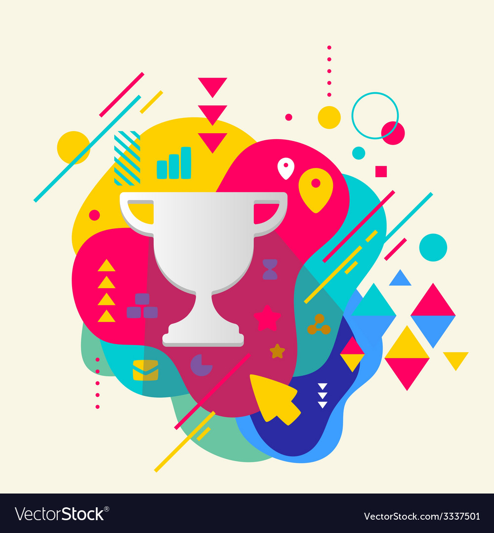Cup winner on abstract colorful spotted background vector | Price: 3 Credit (USD $3)