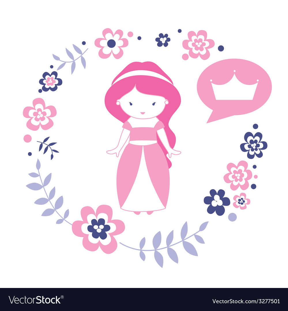 Design with cute princess vector | Price: 1 Credit (USD $1)