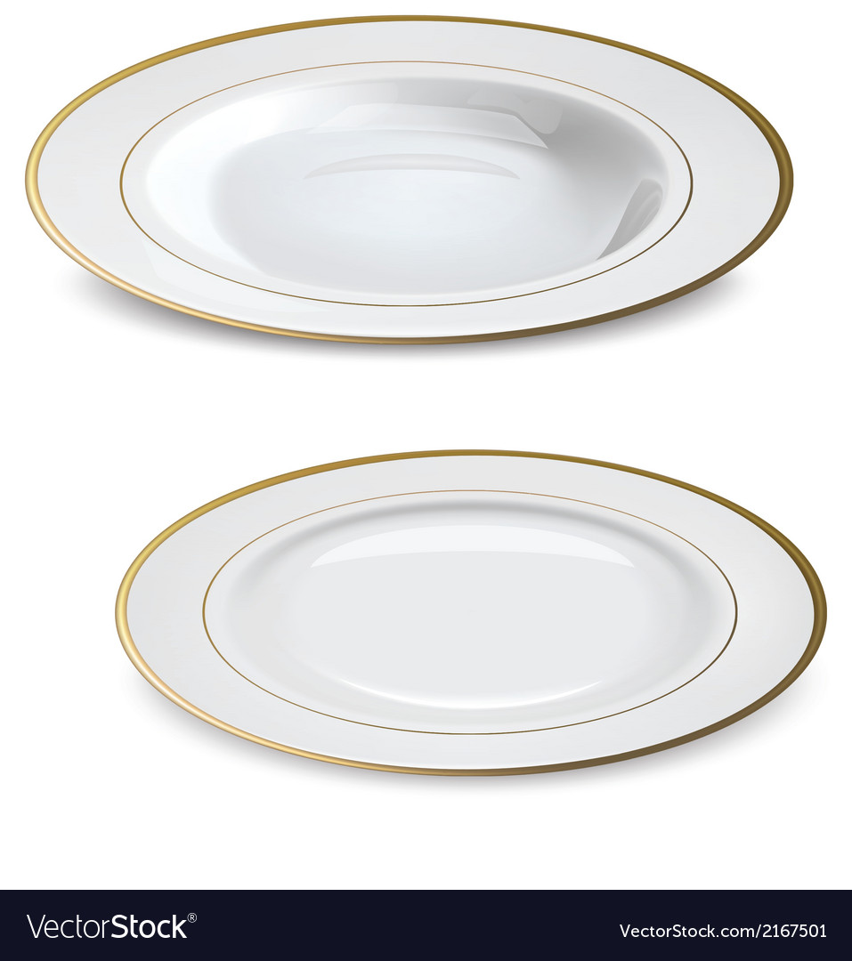 Empty white plates with gold rims vector | Price: 1 Credit (USD $1)
