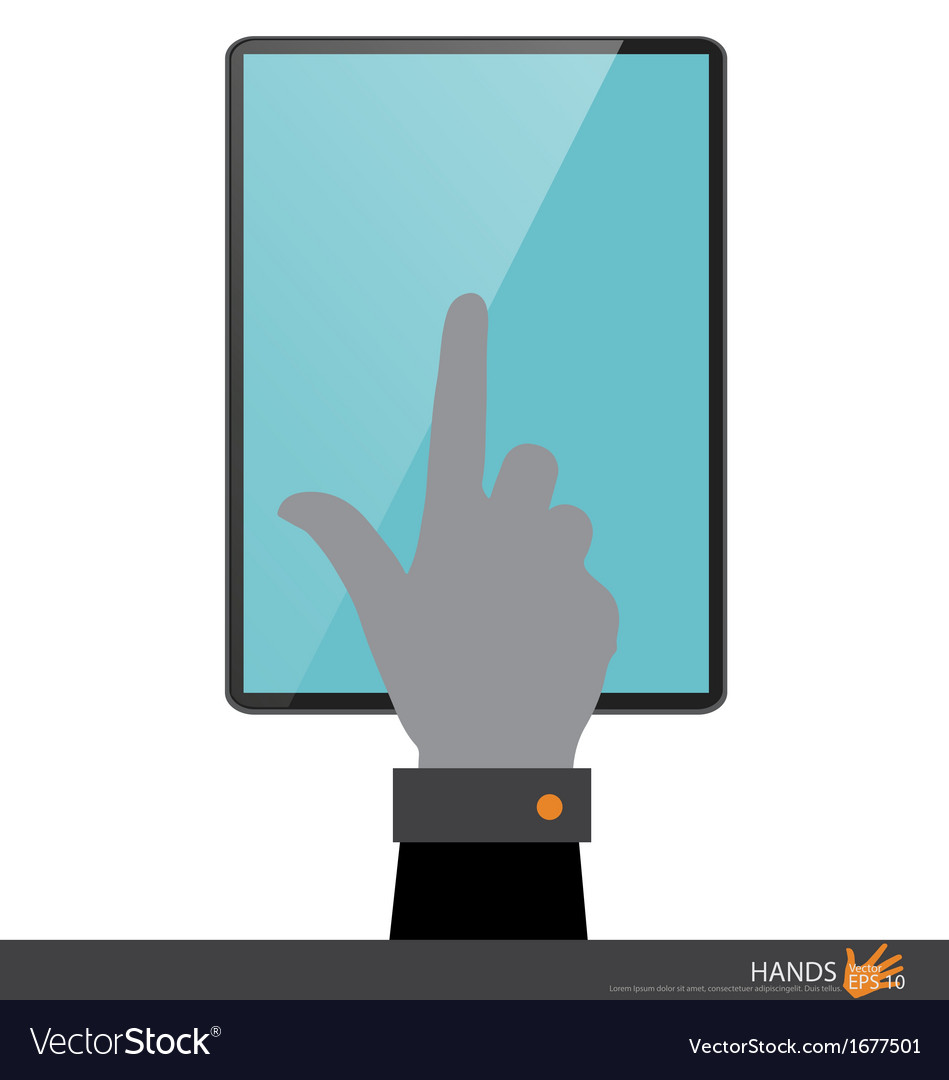 Hand touching on tablet pc vector | Price: 1 Credit (USD $1)