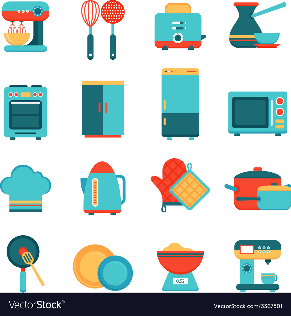 Kitchen appliances icons set vector | Price: 1 Credit (USD $1)