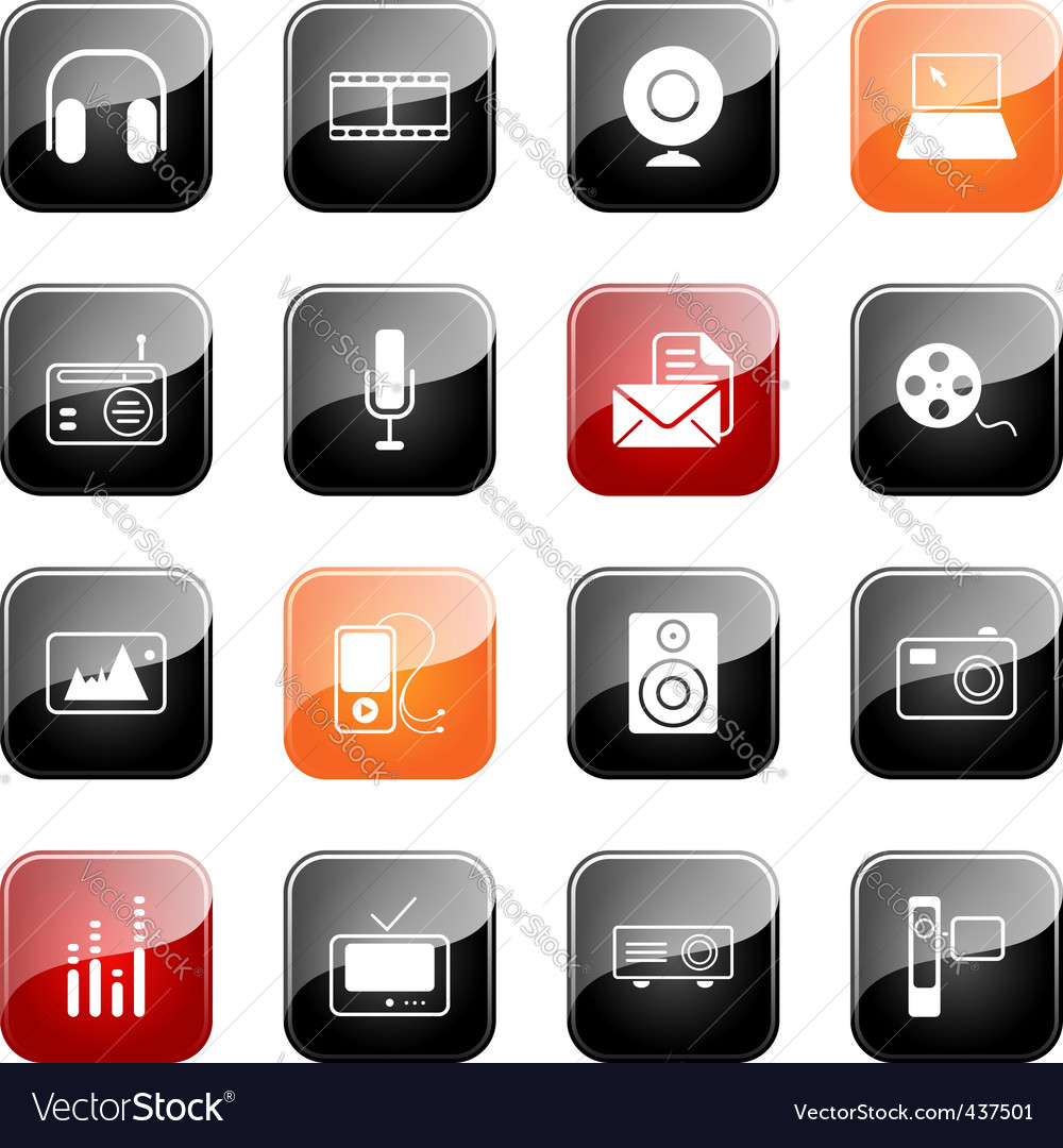Mass media icons glossy series vector