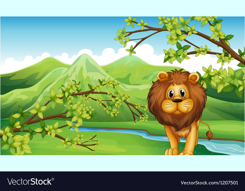 The mountain view with a lion and a river vector | Price: 1 Credit (USD $1)