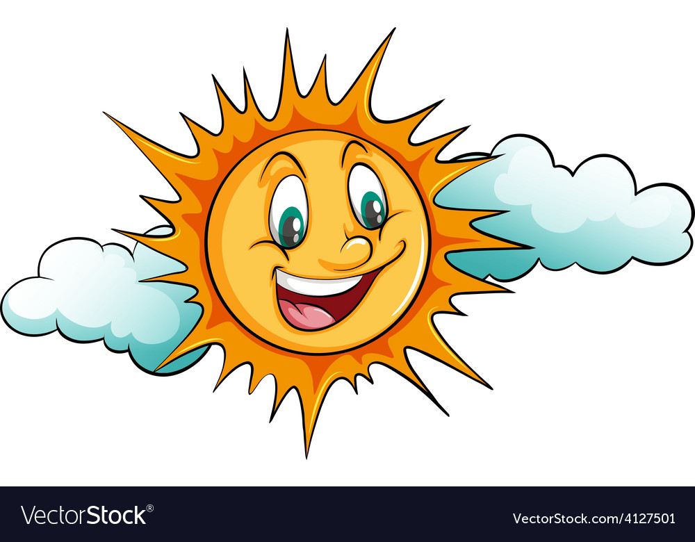 Smiling sun in the sky vector | Price: 3 Credit (USD $3)
