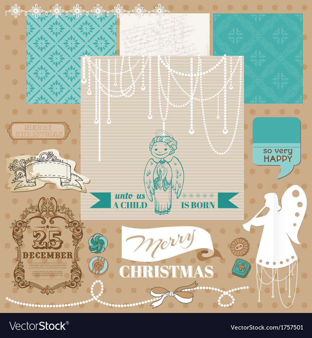 Vintage christmas angel set vector | Price: 1 Credit (USD $1)