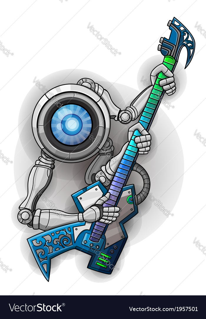 White robot with guitar isolated on white vector | Price: 1 Credit (USD $1)
