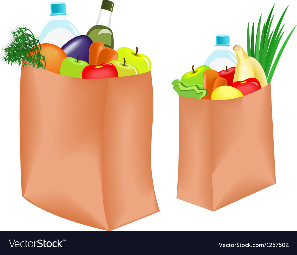 Bag with food vector | Price: 3 Credit (USD $3)