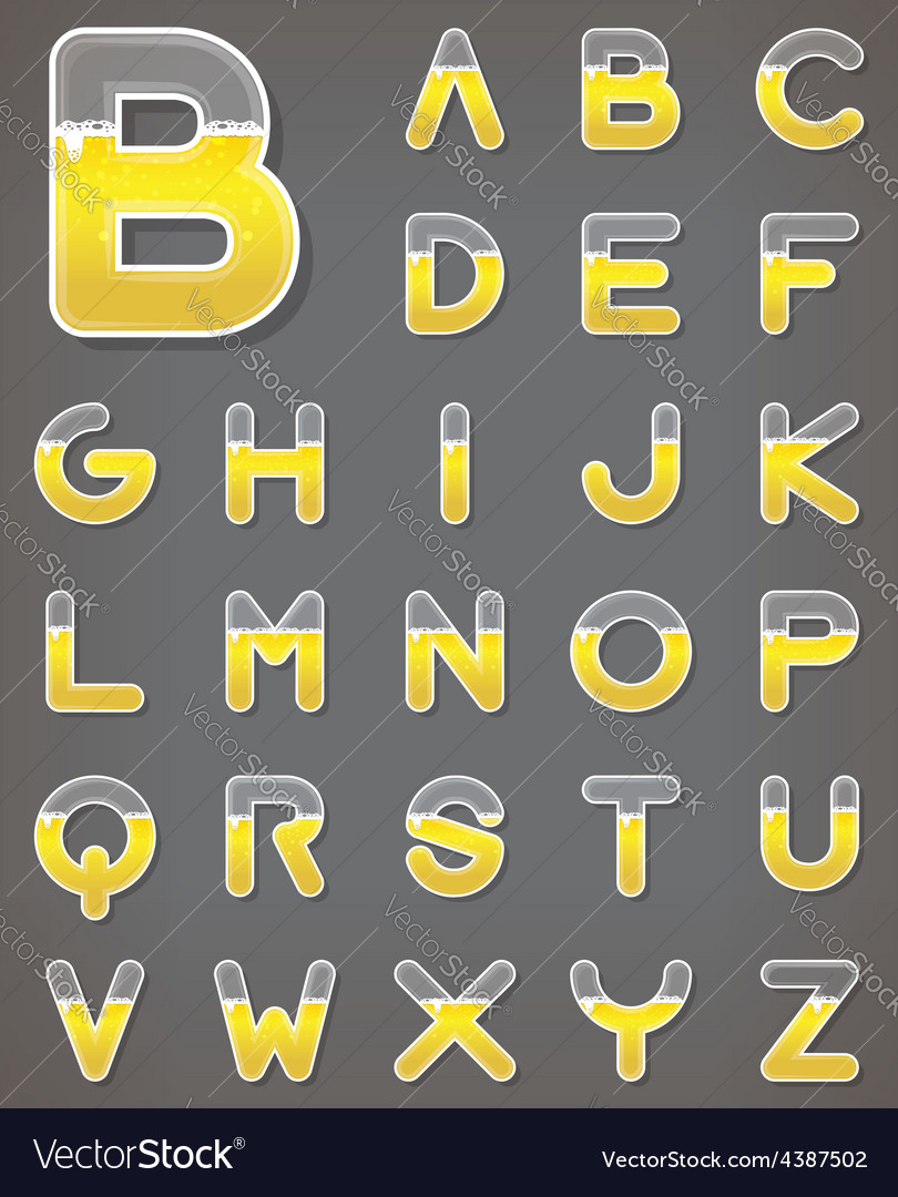 Beer letters set beverage alphabets vector | Price: 1 Credit (USD $1)