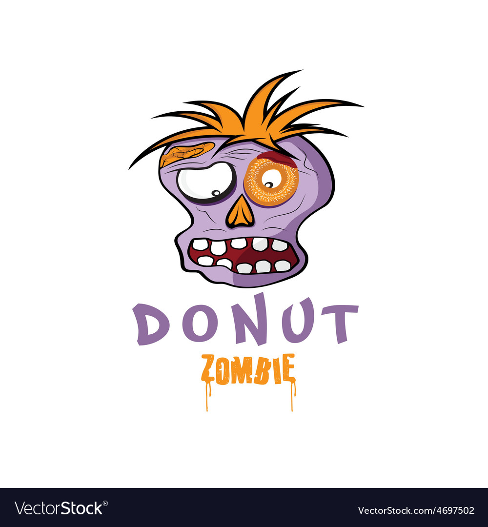 Cartoon donut zombie face design template vector | Price: 1 Credit (USD $1)