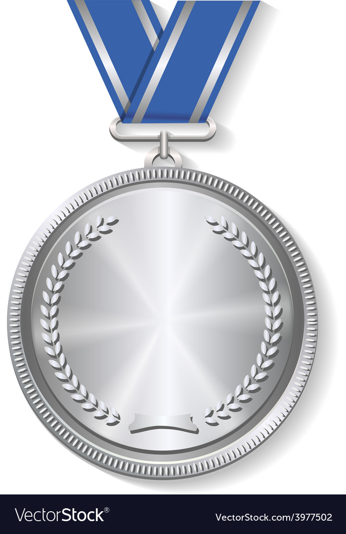 Champion silver medal with ribbon on white vector | Price: 1 Credit (USD $1)