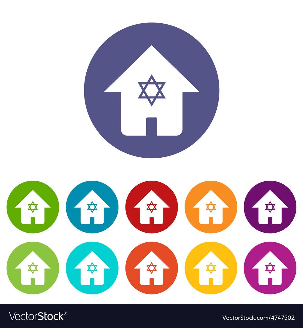 Judaic house icon set vector | Price: 1 Credit (USD $1)