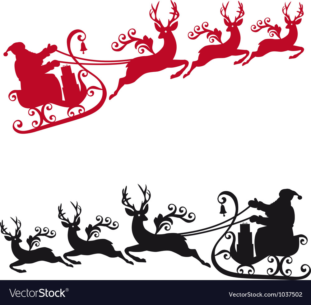 Santa with sleigh and reindeers vector
