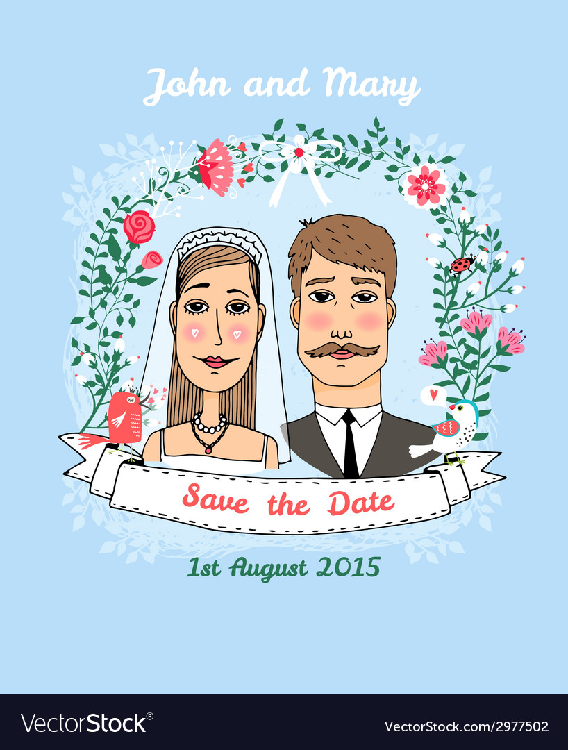 Save the date wedding invitation vector | Price: 1 Credit (USD $1)