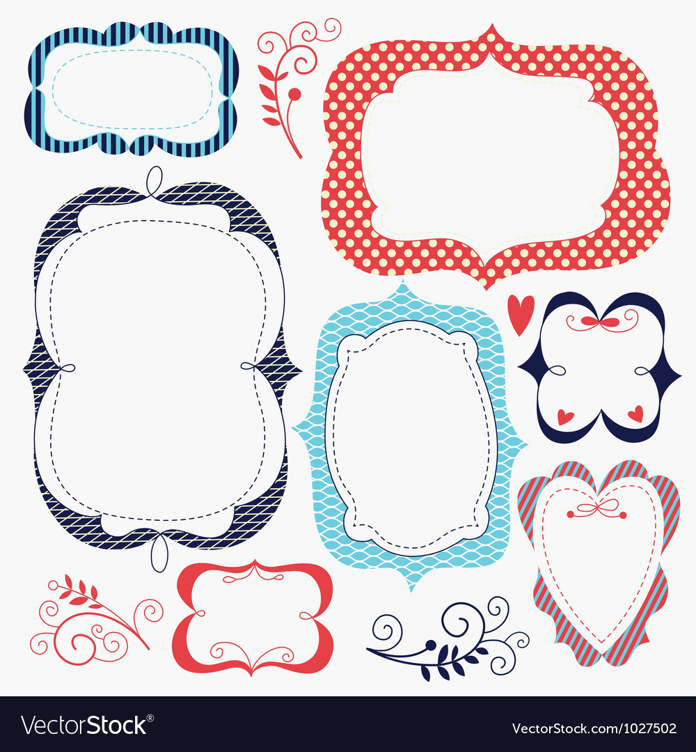 Set of romantic frames vector | Price: 3 Credit (USD $3)