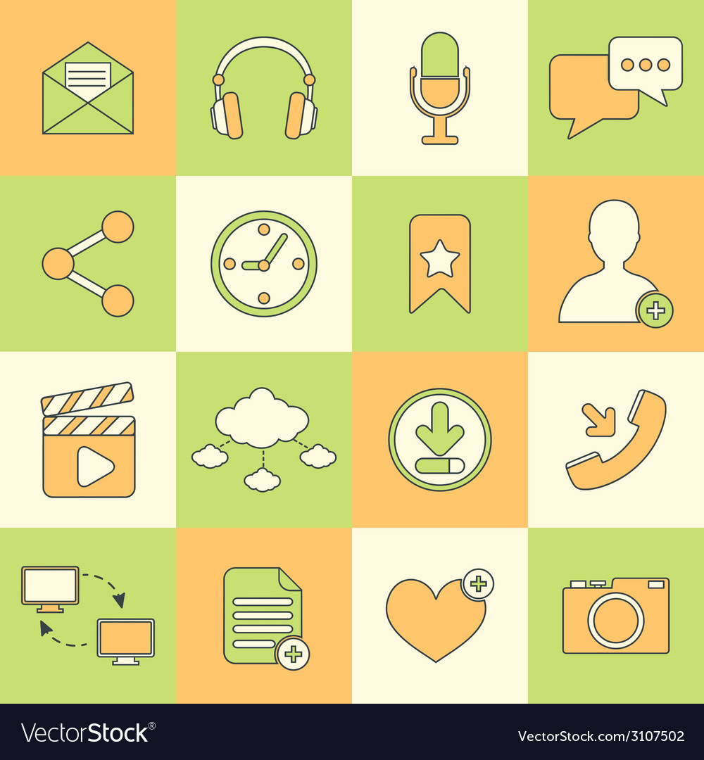Social network icons flat line vector | Price: 1 Credit (USD $1)