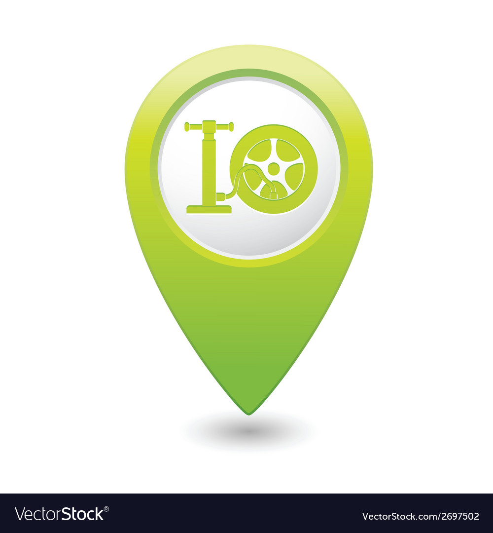 Wheel pump icon map pointer green vector | Price: 1 Credit (USD $1)