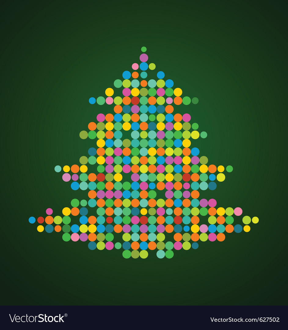 Xmas background with pixel christmas tree vector | Price: 1 Credit (USD $1)