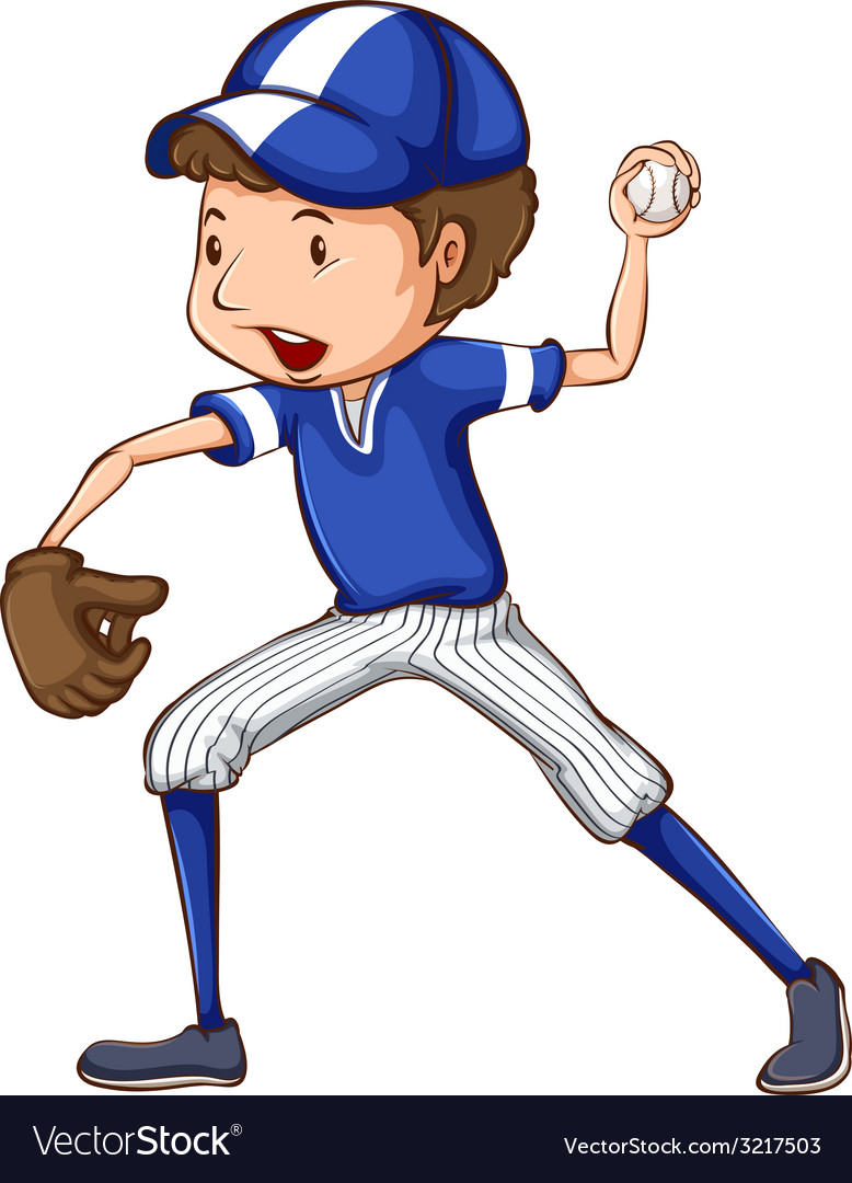 A simple drawing of a baseball player in blue vector | Price: 1 Credit (USD $1)