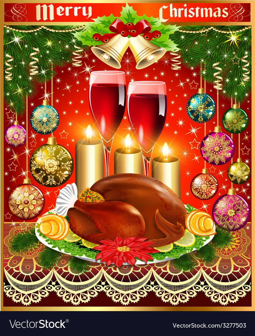 Card for christmas turkey wine candles and christm vector | Price: 1 Credit (USD $1)