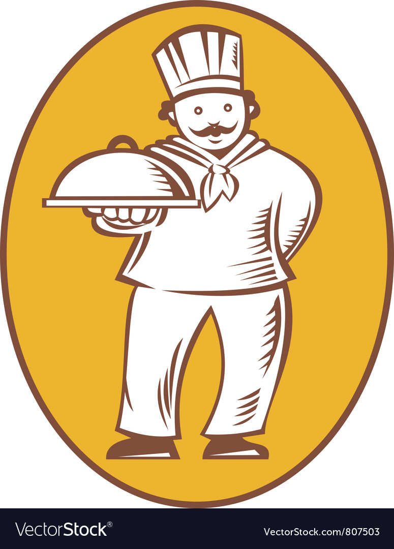 Chef baker cook with platter vector | Price: 1 Credit (USD $1)