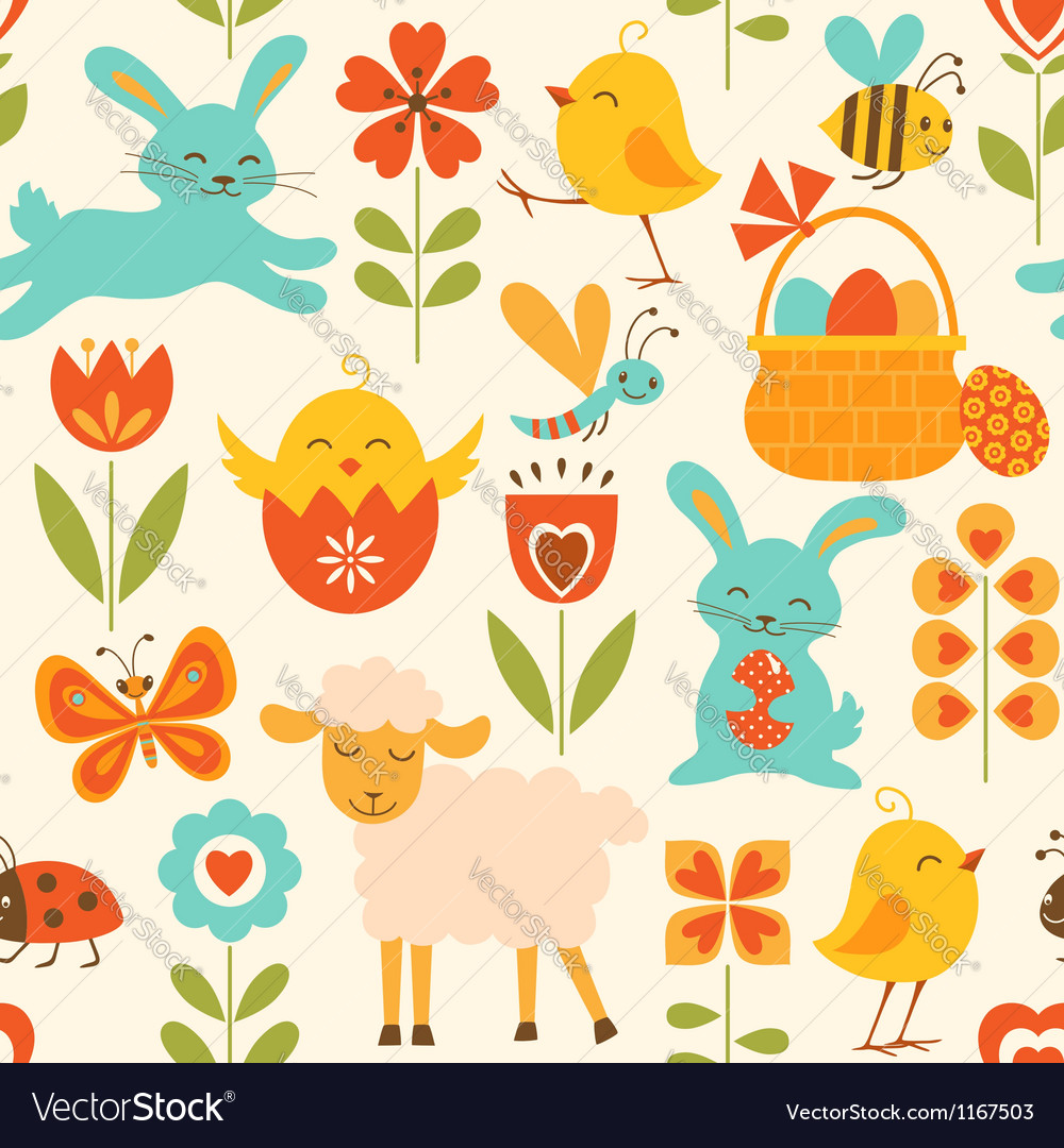 Cute easter pattern vector | Price: 1 Credit (USD $1)
