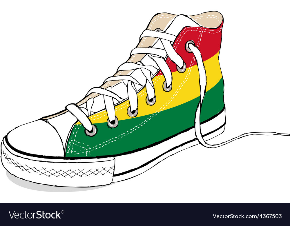Hand draw modern sport shoes with bolivia flag vector | Price: 1 Credit (USD $1)