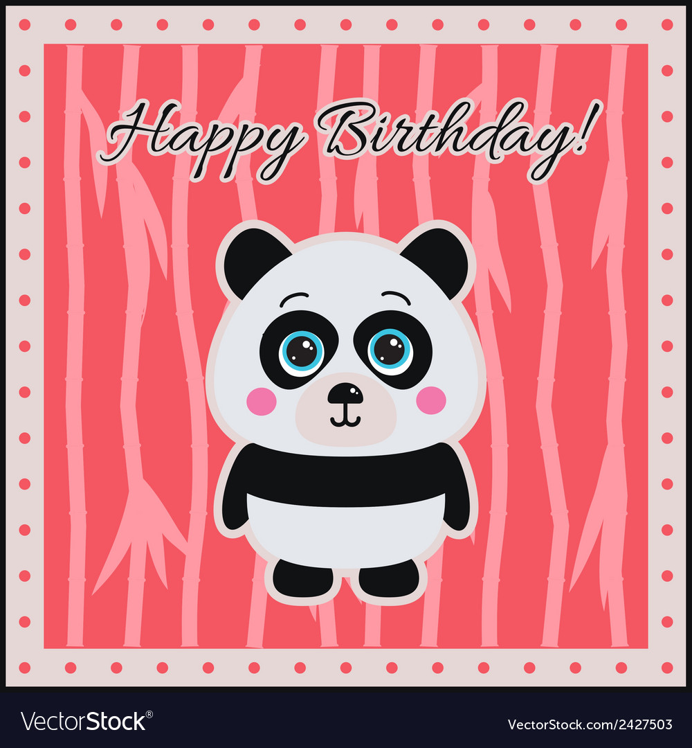 Happy birthday panda on a coral background vector | Price: 1 Credit (USD $1)