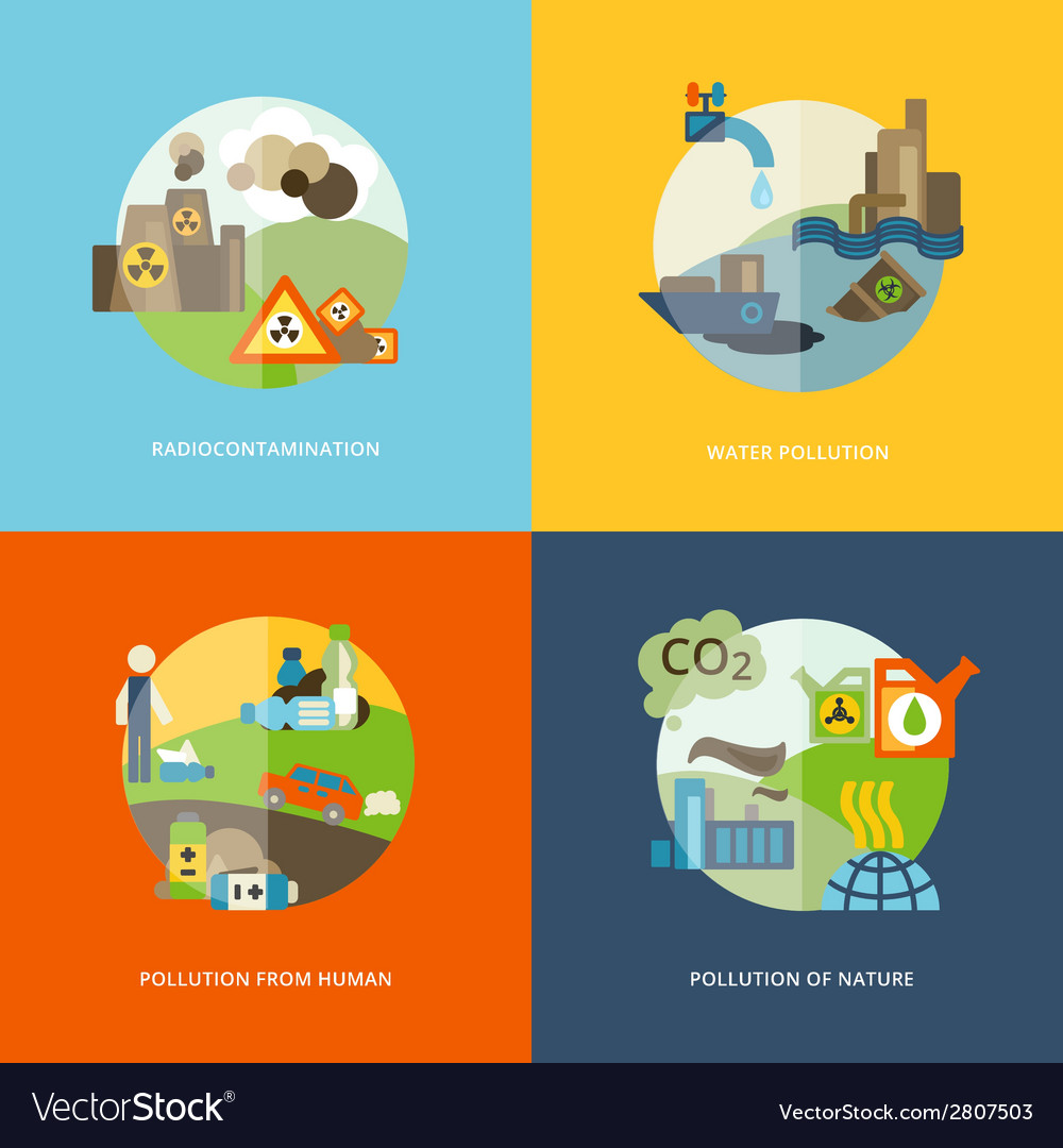 Pollution icons flat vector | Price: 1 Credit (USD $1)