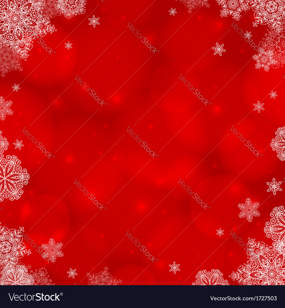 Red ornate christmas background with snowflakes vector | Price: 1 Credit (USD $1)