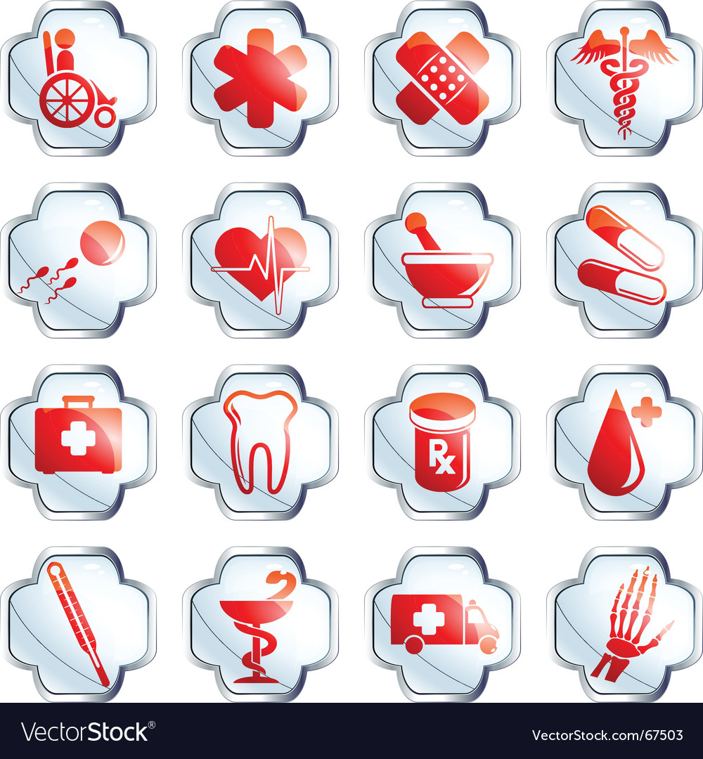 White glossy medical buttons vector | Price: 1 Credit (USD $1)