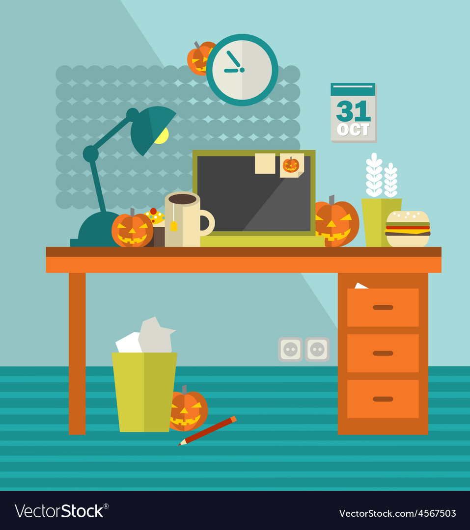 Work place on holiday halloween vector | Price: 1 Credit (USD $1)