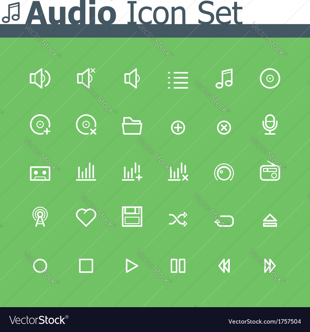Audio icon set vector | Price: 1 Credit (USD $1)