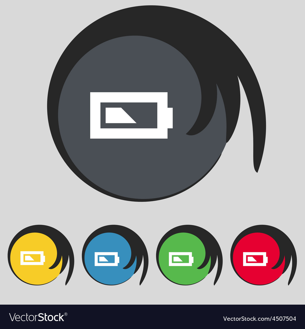 Battery half level icon sign symbol on five vector | Price: 1 Credit (USD $1)